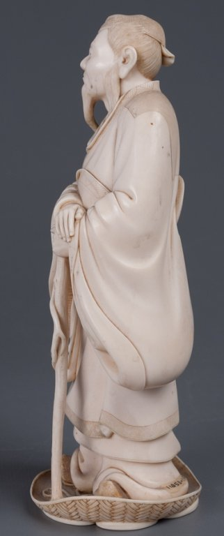 Chinese Bone Carving, Man w/ Staff - 9