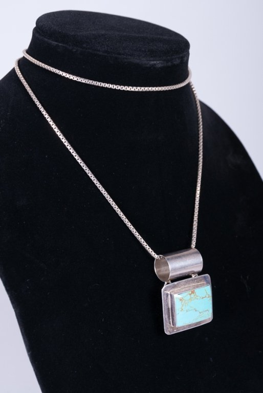 Mexican Sterling & Turquoise Slide Necklace