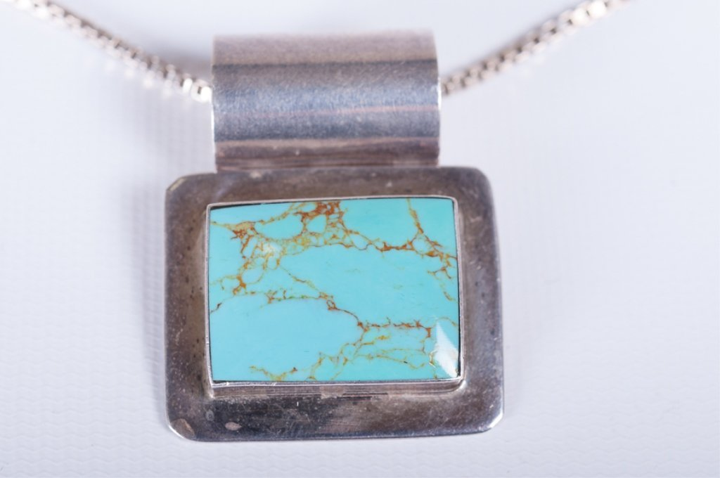 Mexican Sterling & Turquoise Slide Necklace - 2
