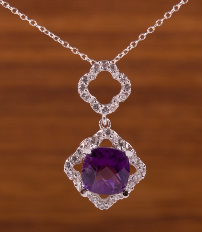 Amethyst & Sterling Silver Pendant Necklace