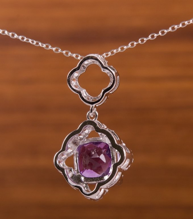 Amethyst & Sterling Silver Pendant Necklace - 2