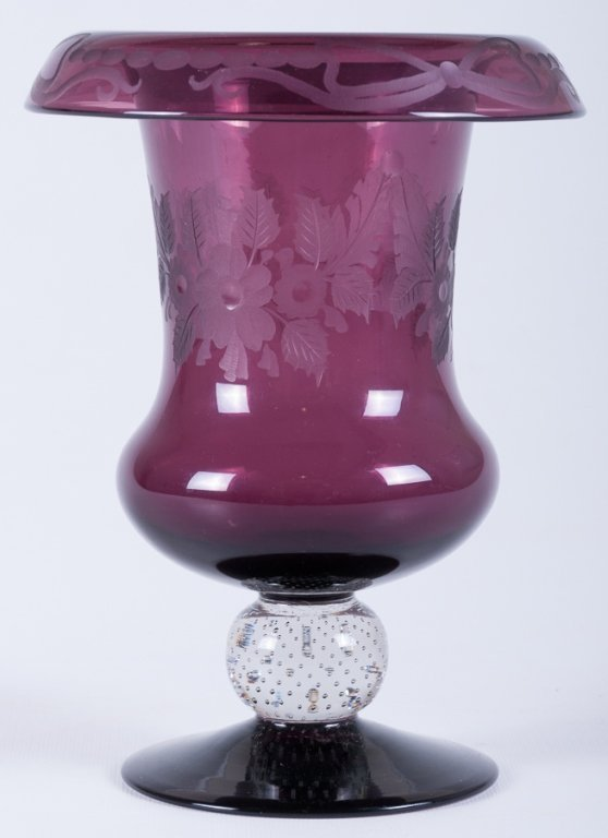 Pairpoint Rolled Rim Glass Vase
