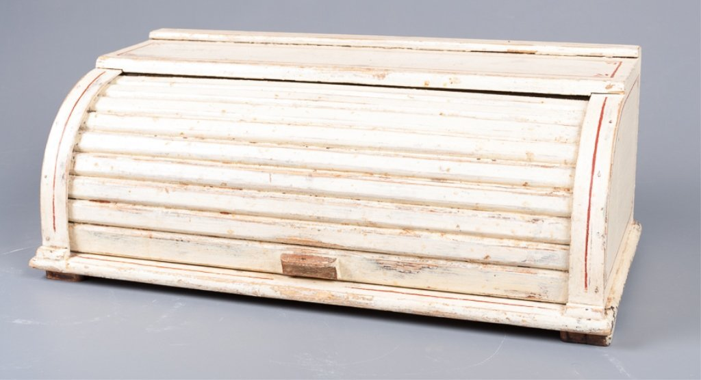 Antique Roll-Top Wooden Bread Box