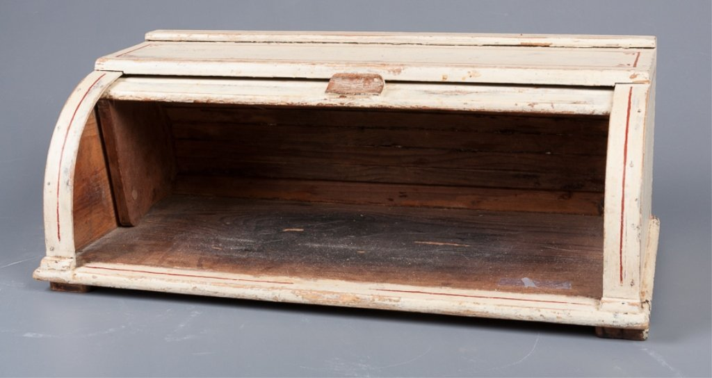 Antique Roll-Top Wooden Bread Box - 2