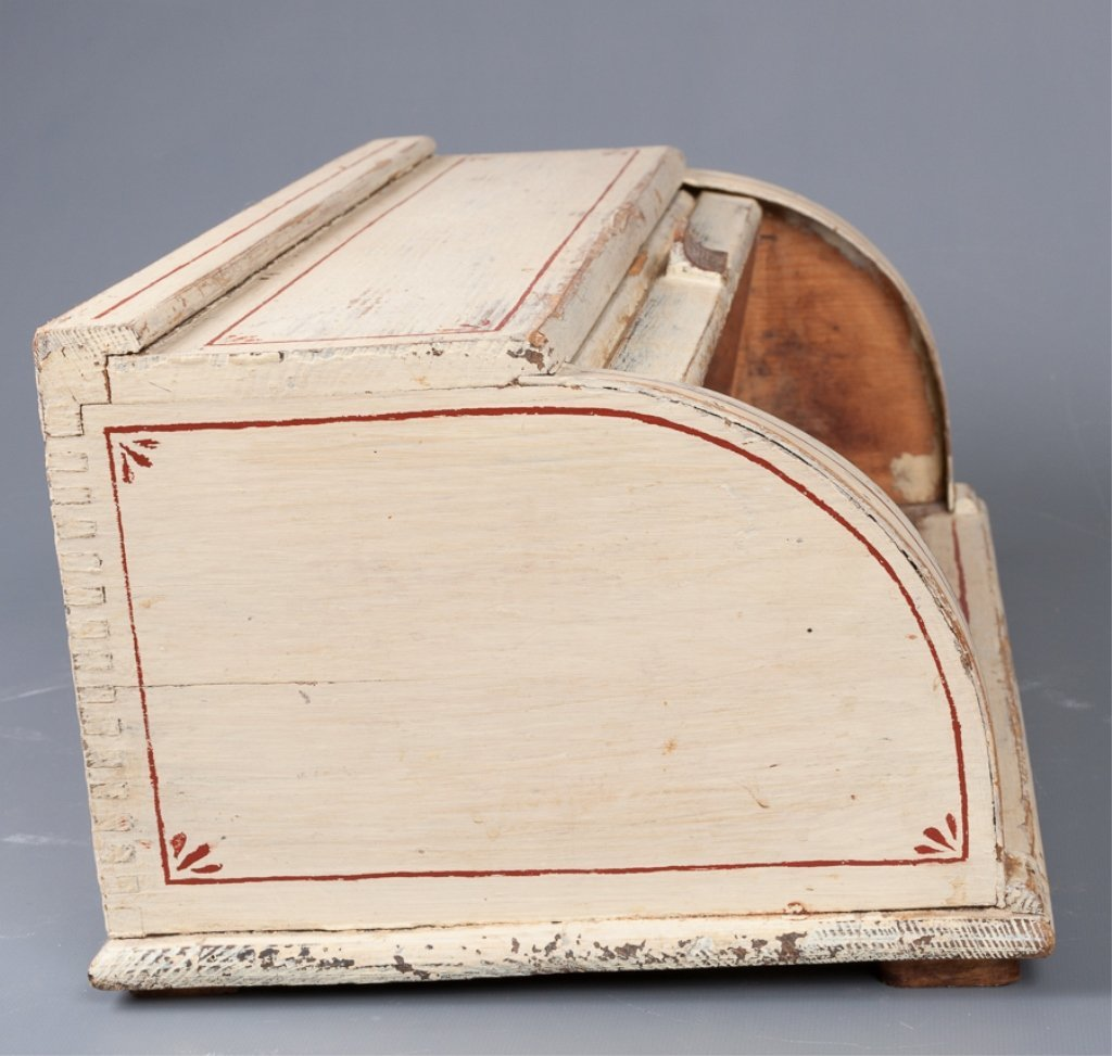Antique Roll-Top Wooden Bread Box - 5