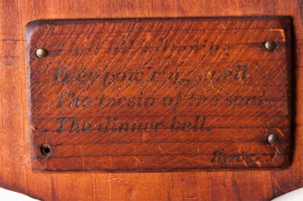 Antique Wooden Dinner Bell w/ Byron Poem - 2
