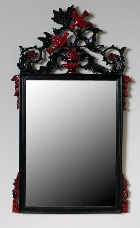 Beveled Mirror w/ Carved Frame