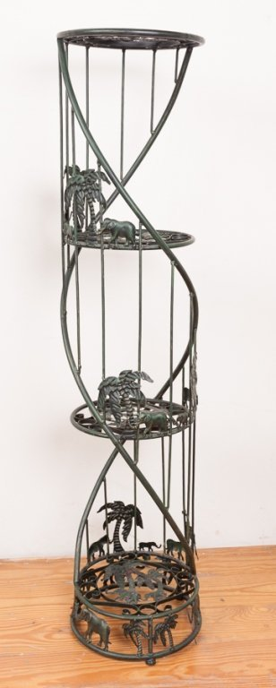 Figural Iron Plant Stand w/ Elephant Motif