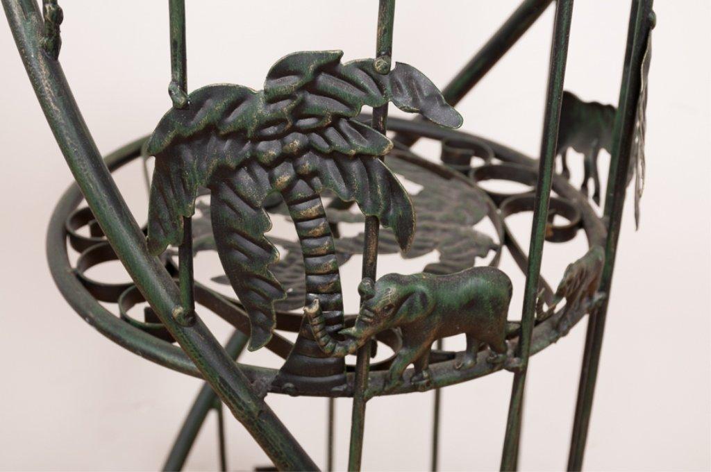 Figural Iron Plant Stand w/ Elephant Motif - 3