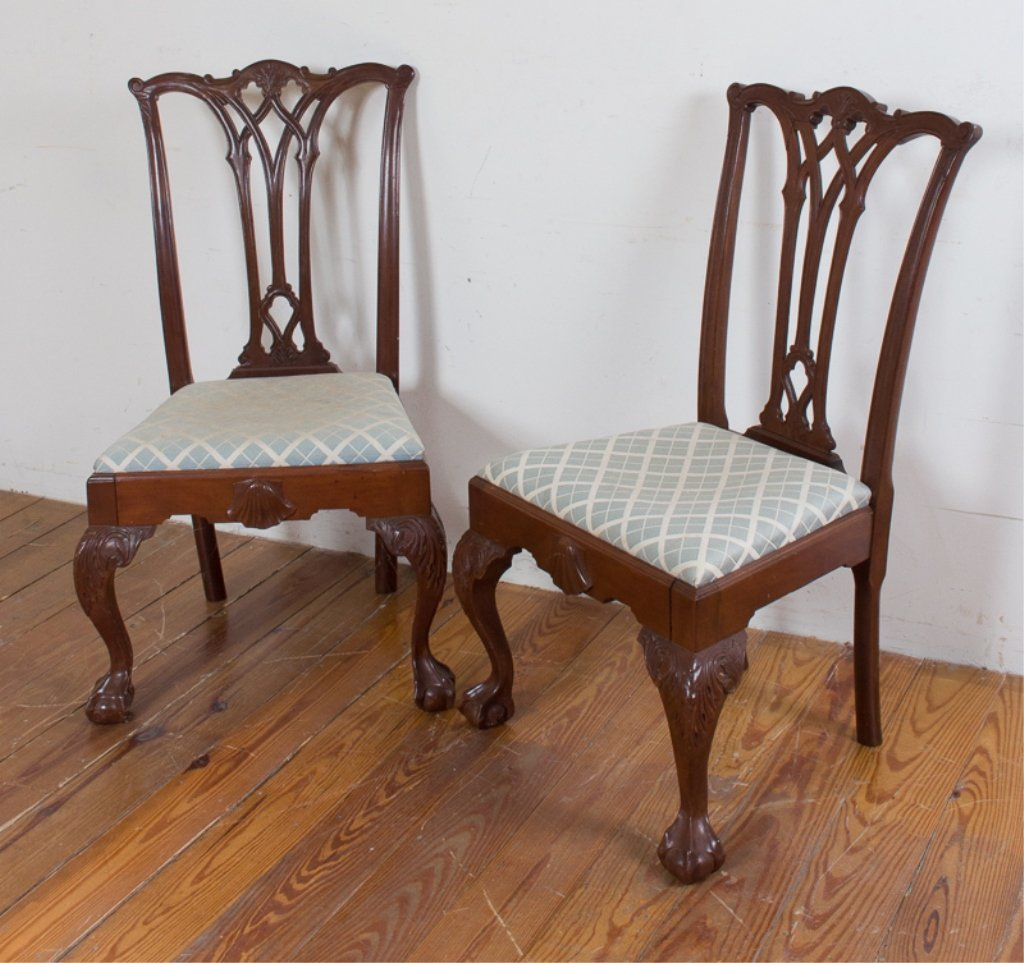 Carved Mahogany Side Chairs, Pair