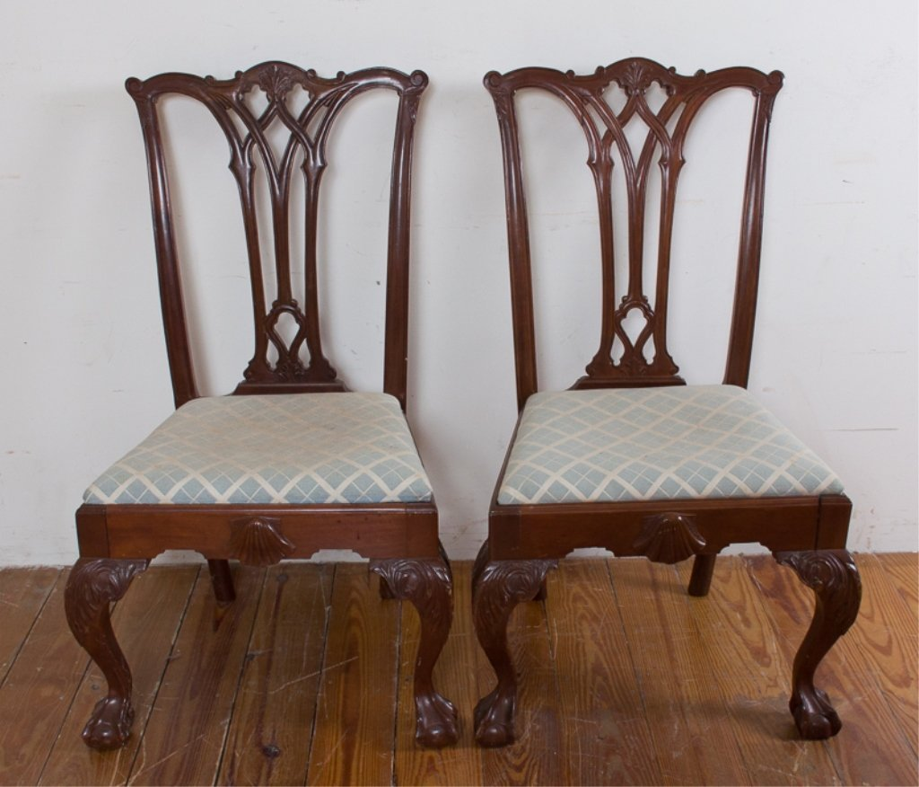 Carved Mahogany Side Chairs, Pair - 2