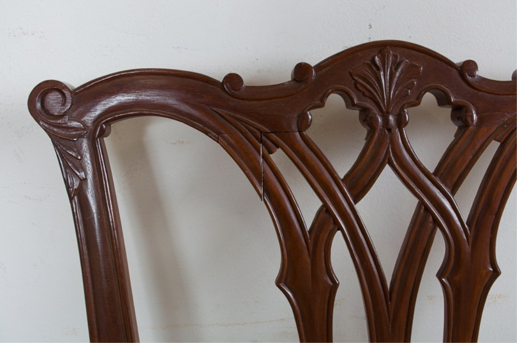 Carved Mahogany Side Chairs, Pair - 3