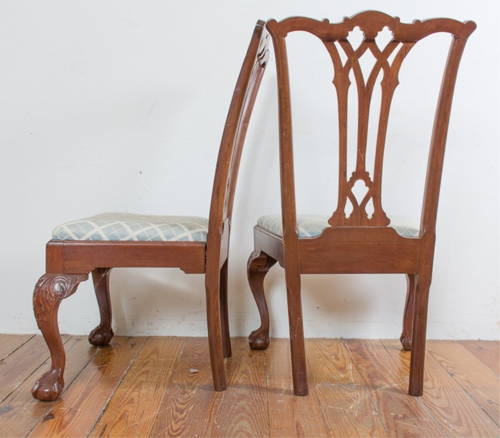 Carved Mahogany Side Chairs, Pair - 5