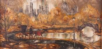 Robert Lebron Oil on Canvas Central Park