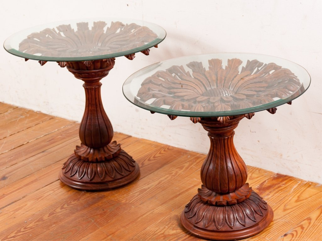 Rosewood Carved Pedestal End Tables Pair