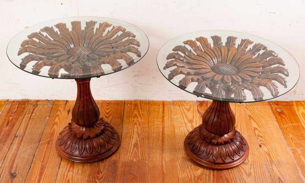 Rosewood Carved Pedestal End Tables Pair - 2