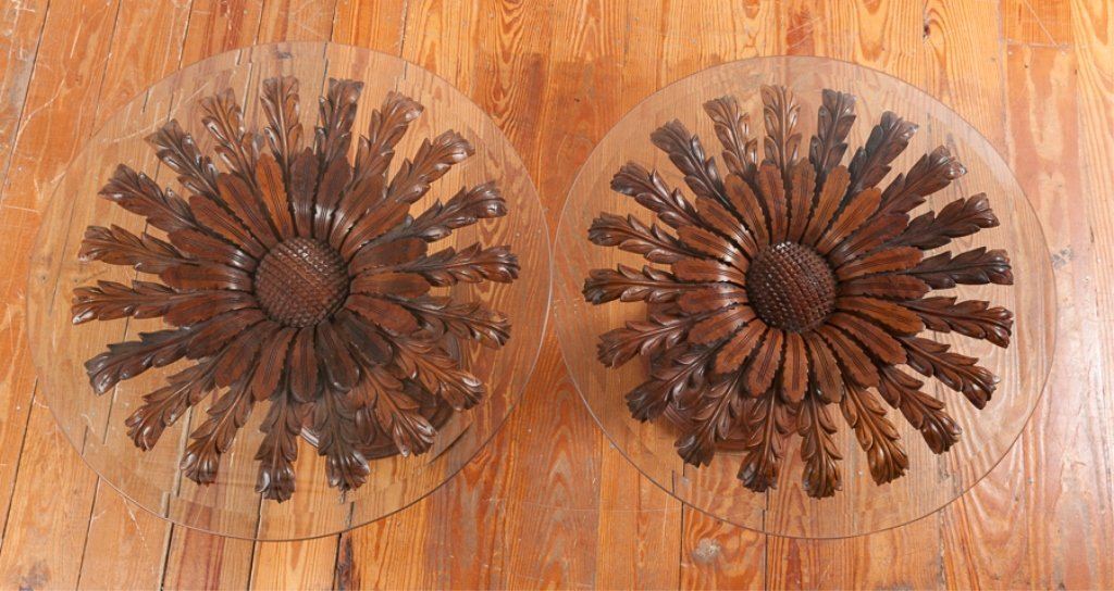 Rosewood Carved Pedestal End Tables Pair - 3