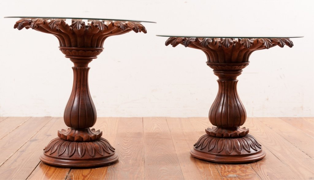 Rosewood Carved Pedestal End Tables Pair - 4
