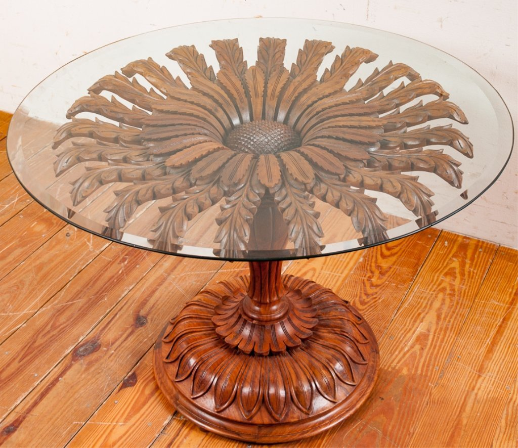 Rosewood Carved Pedestal Table, Glass Top