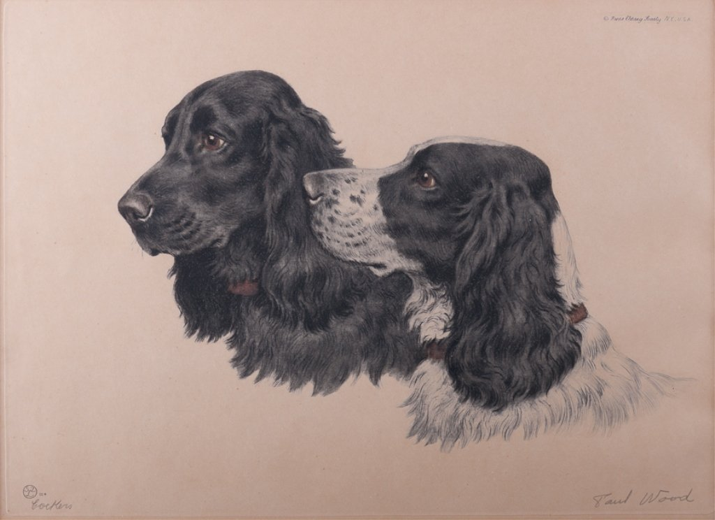 """Signed Paul Wood """"Cockers"""" Etching"""