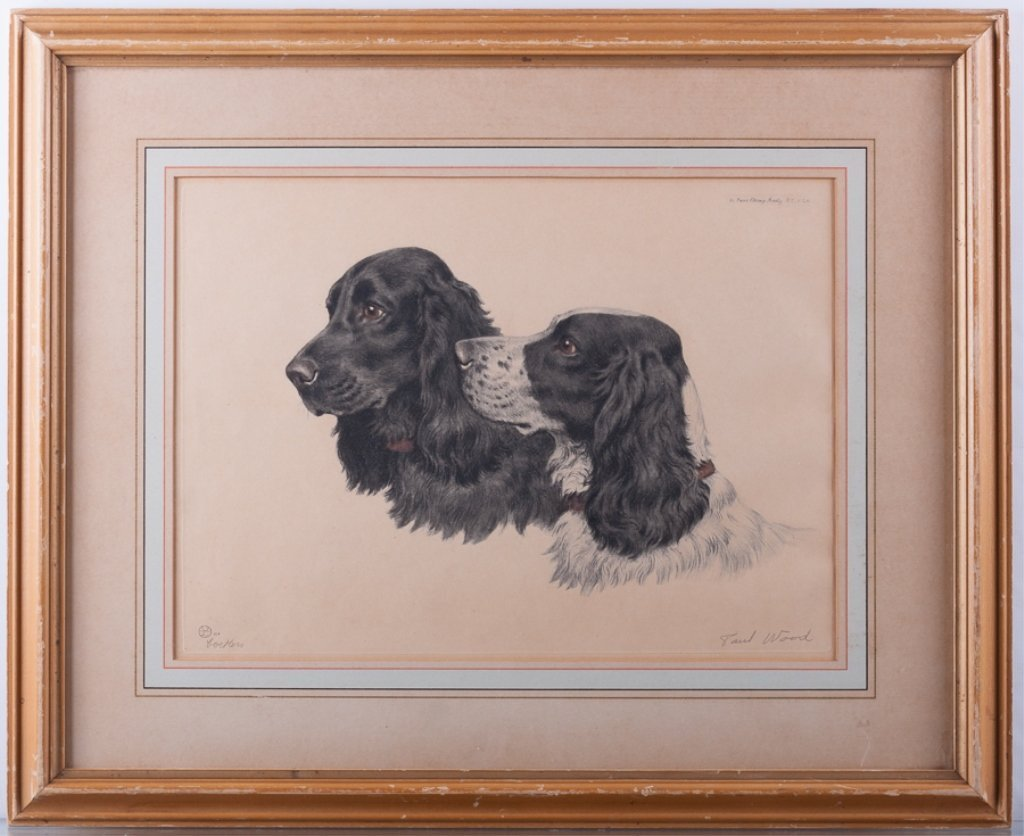 """Signed Paul Wood """"Cockers"""" Etching - 2"""