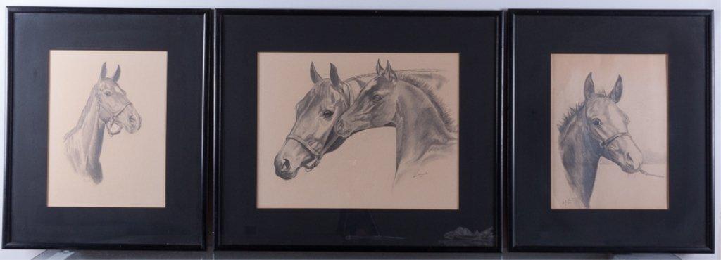 Lois Church Equestrian Drawings, Three (3)
