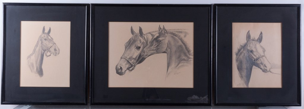 Lois Church Equestrian Drawings, Three (3)