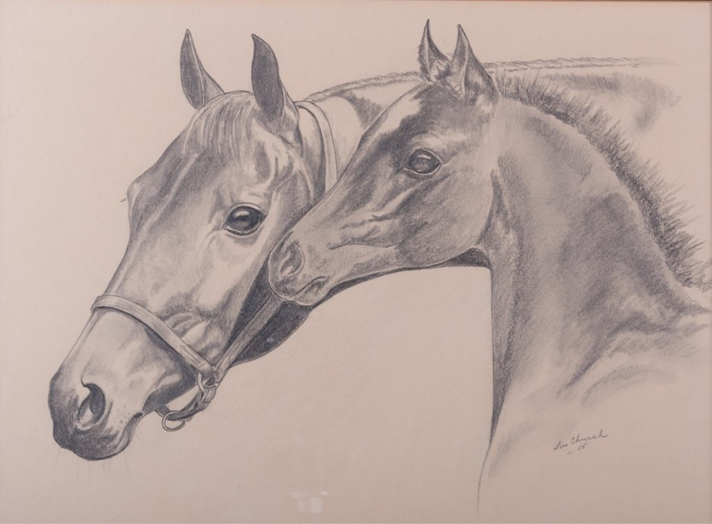 Lois Church Equestrian Drawings, Three (3) - 5