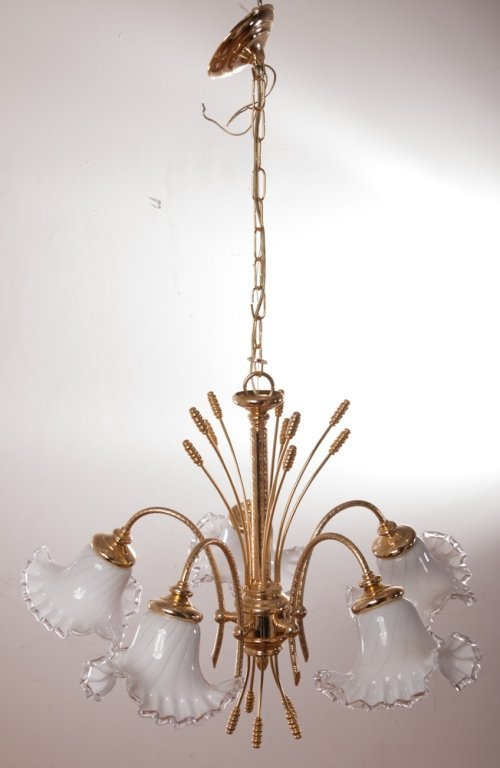 Brass Chandelier w/ Ruffled Glass Shades - 2