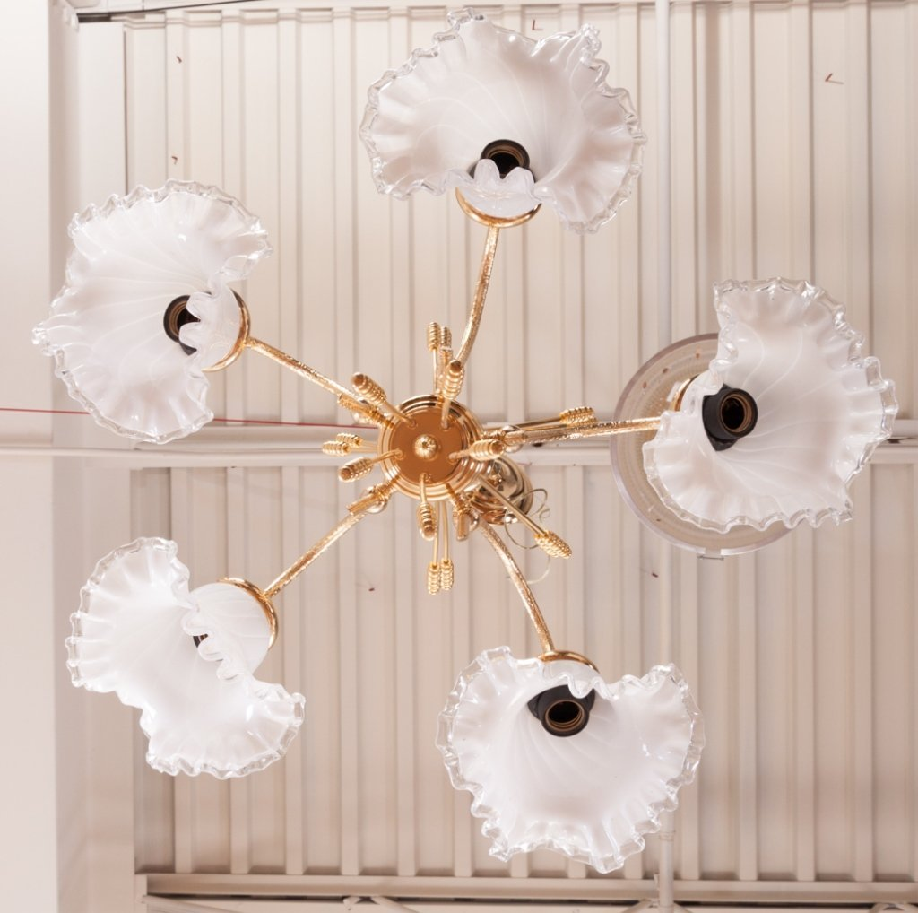 Brass Chandelier w/ Ruffled Glass Shades - 3