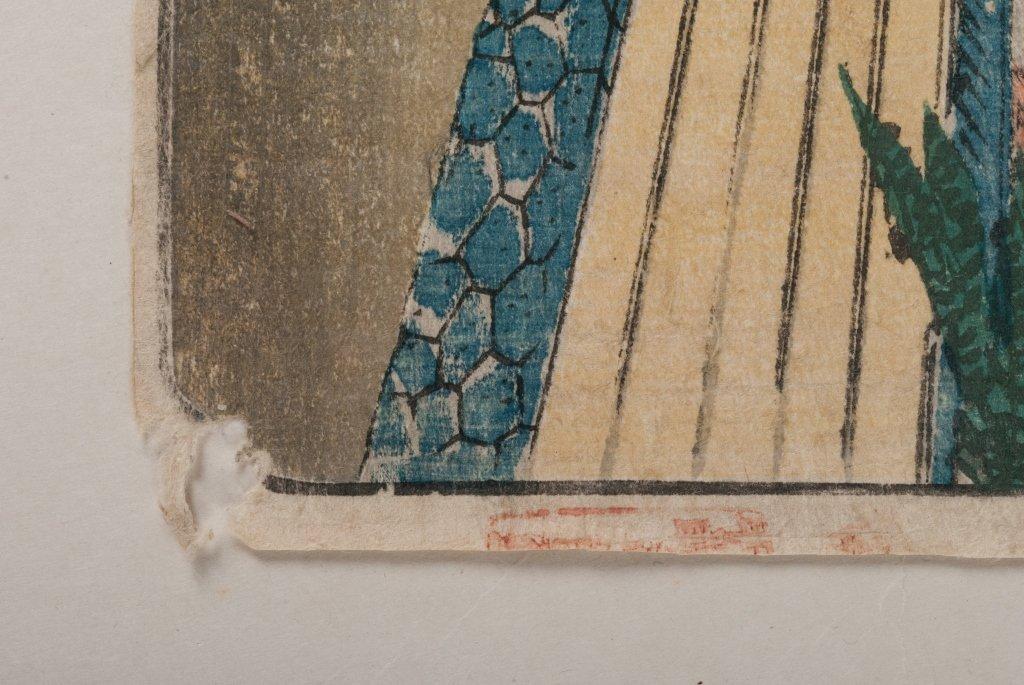 Hiroshige & Chikanobu Woodblock Prints, Three (3) - 7