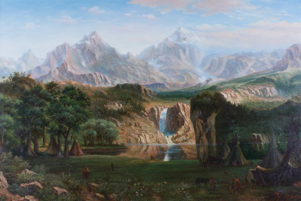 Indian Camp Mountain Landscape Oil on Canvas - 2