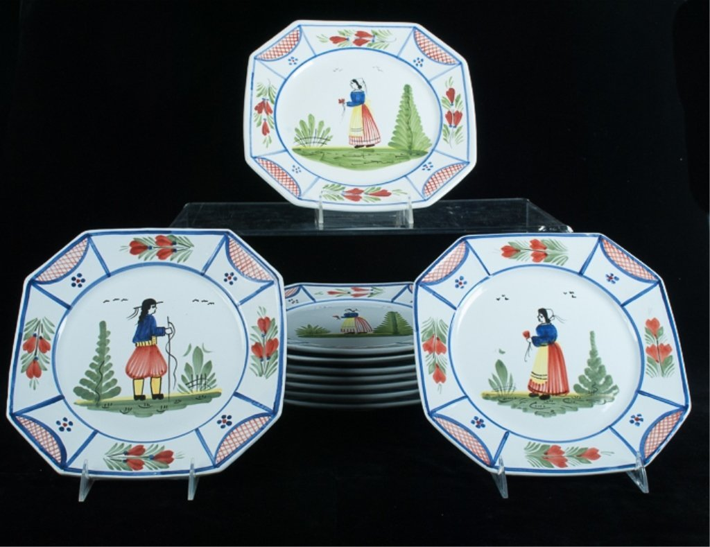 HB Quimper Faience Pottery Plates, Set of Ten (10)