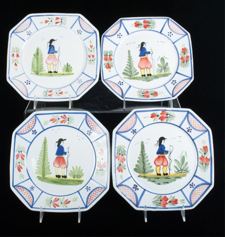 HB Quimper Faience Pottery Plates, Set of Ten (10) - 4