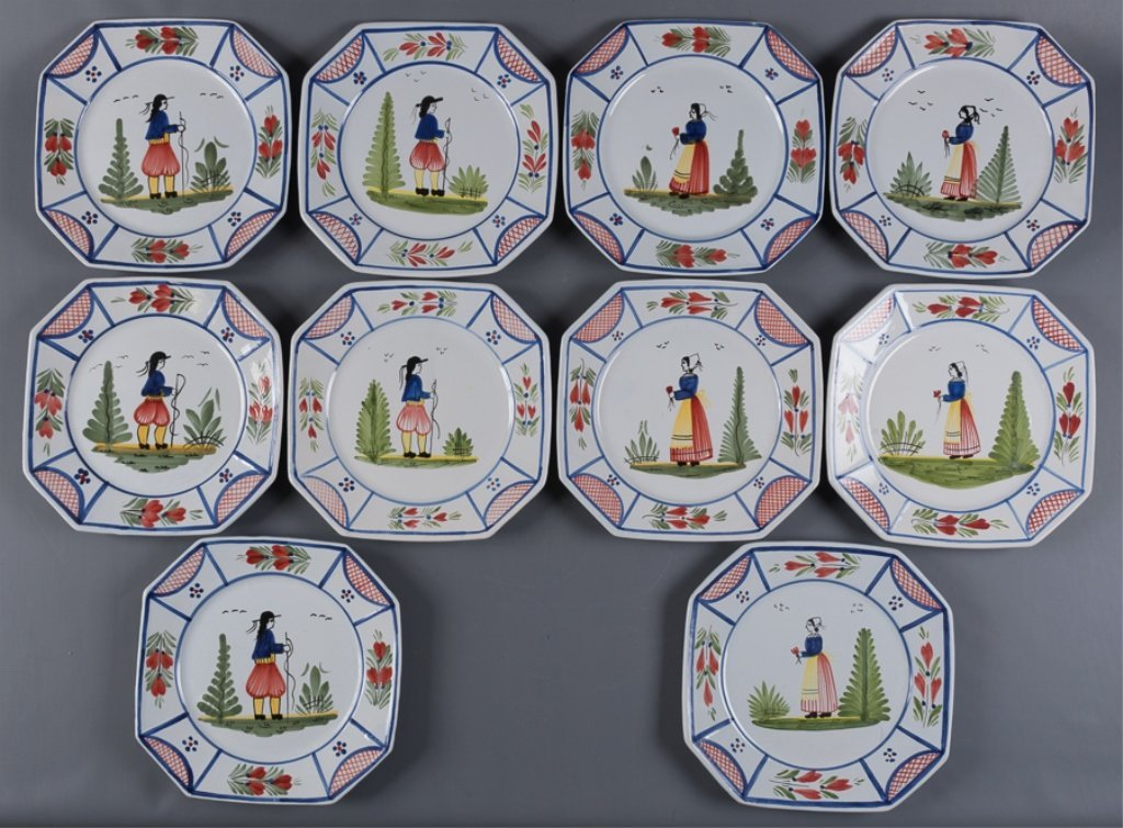 HB Quimper Faience Pottery Plates, Set of Ten (10) - 6