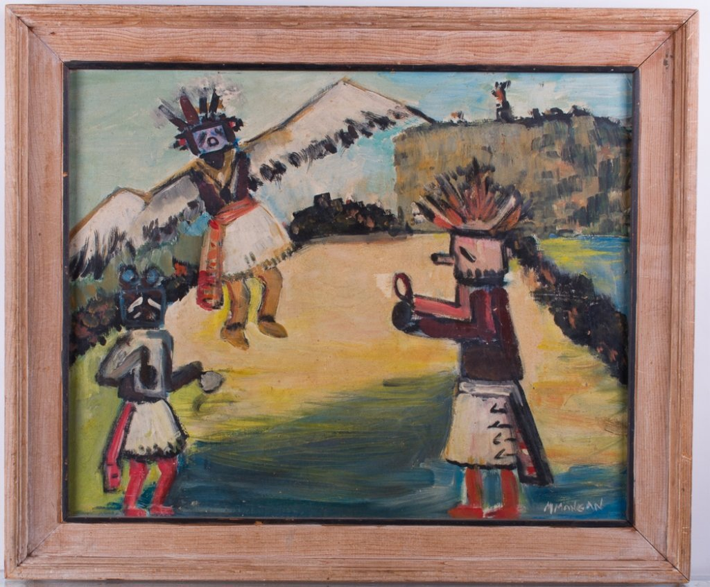"Margaret Mangan ""Hopi Kachinas"" Masonite Painting"
