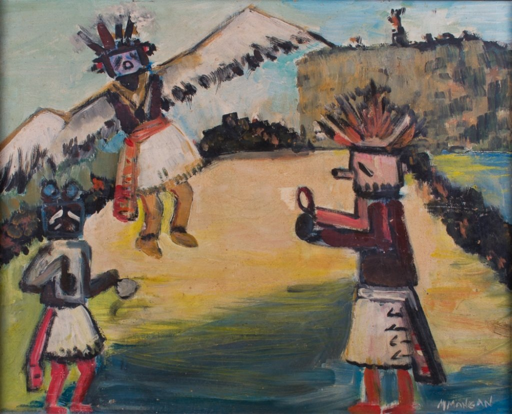 "Margaret Mangan ""Hopi Kachinas"" Masonite Painting - 2"