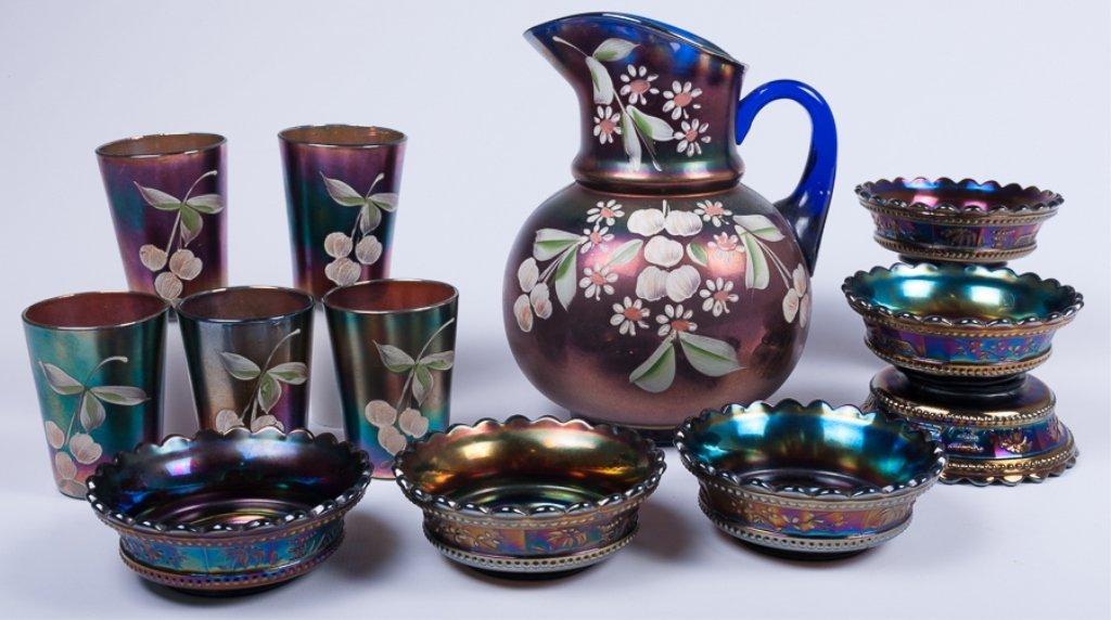 Hand-Painted Iridescence Glassware Group