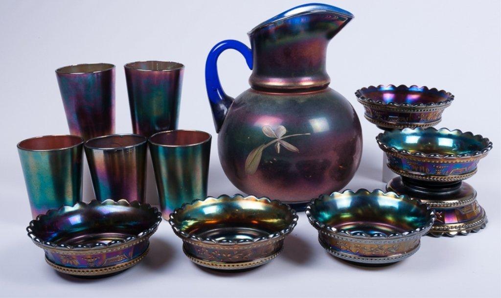 Hand-Painted Iridescence Glassware Group - 2
