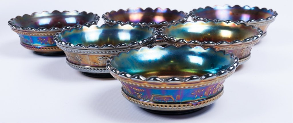 Hand-Painted Iridescence Glassware Group - 3