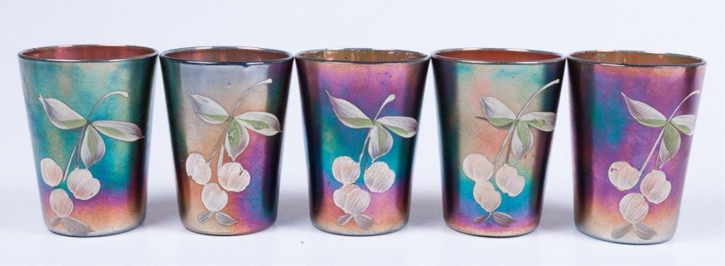 Hand-Painted Iridescence Glassware Group - 6