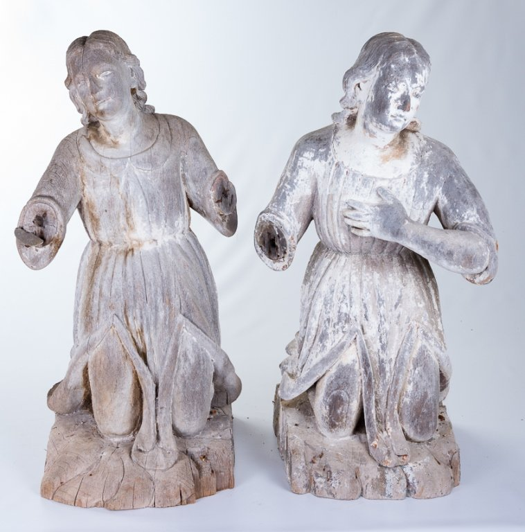 L 18th - E 19th Century Carved Wood Angels