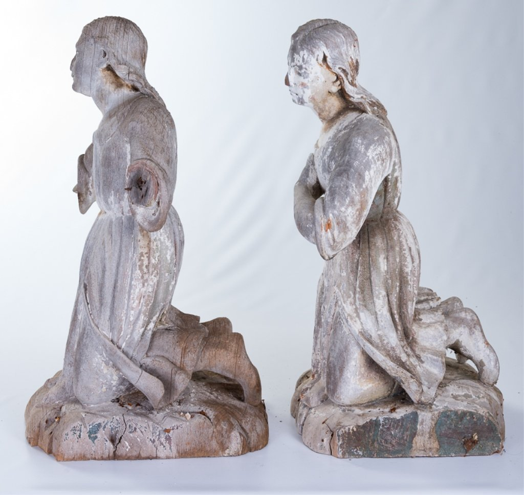 L 18th - E 19th Century Carved Wood Angels - 2