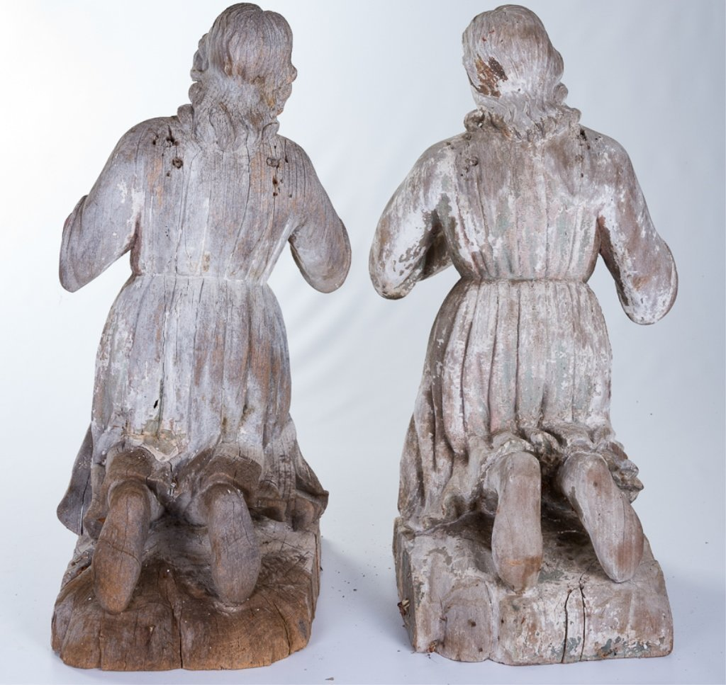 L 18th - E 19th Century Carved Wood Angels - 3