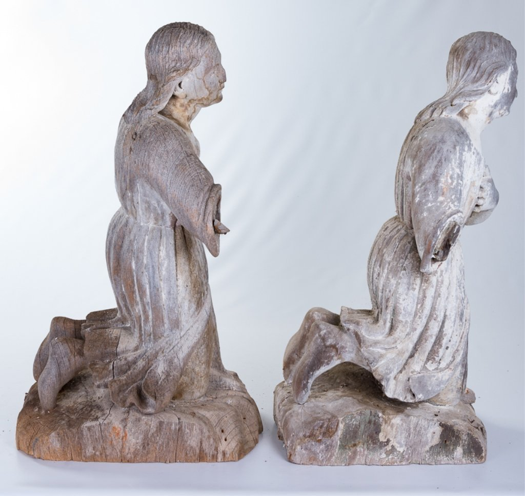 L 18th - E 19th Century Carved Wood Angels - 4