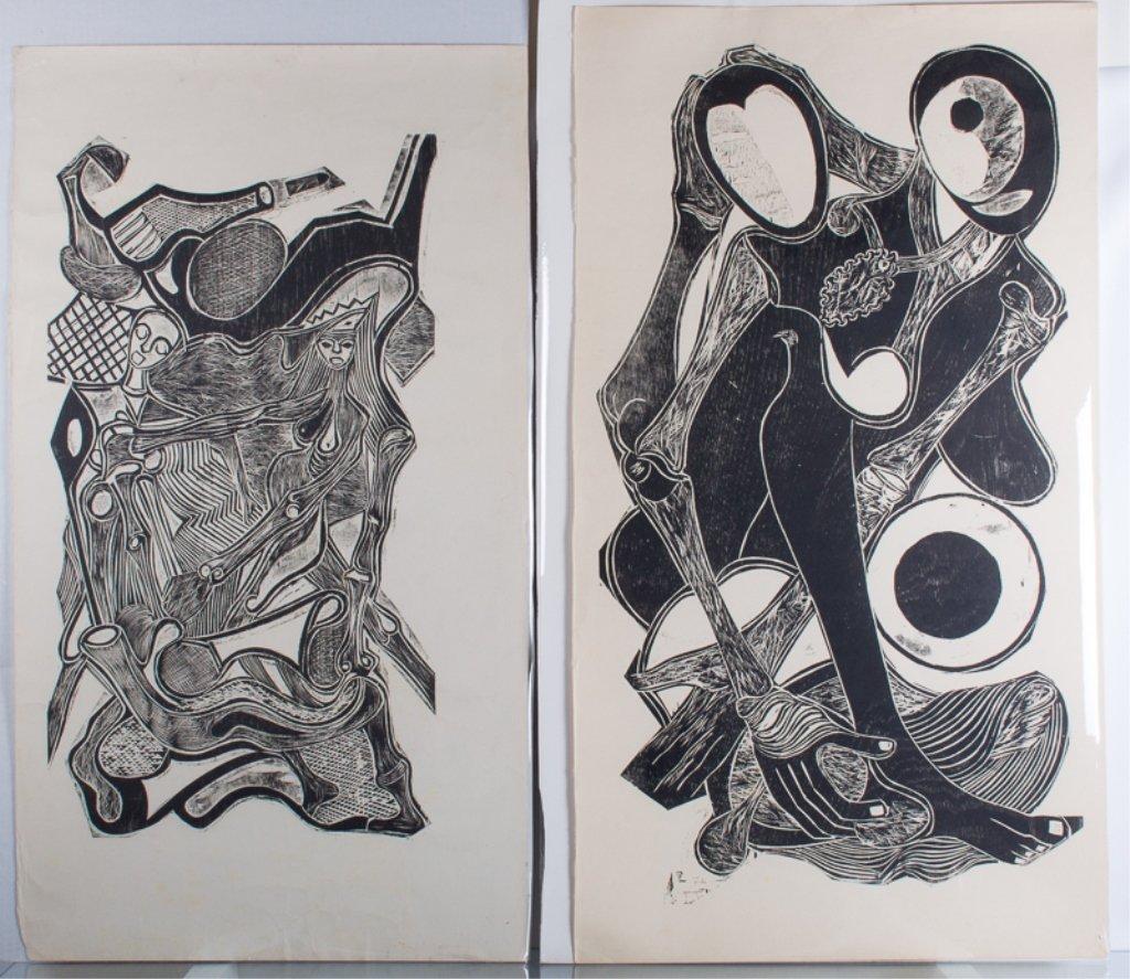 Edison da Luz Woodcut Prints Pair
