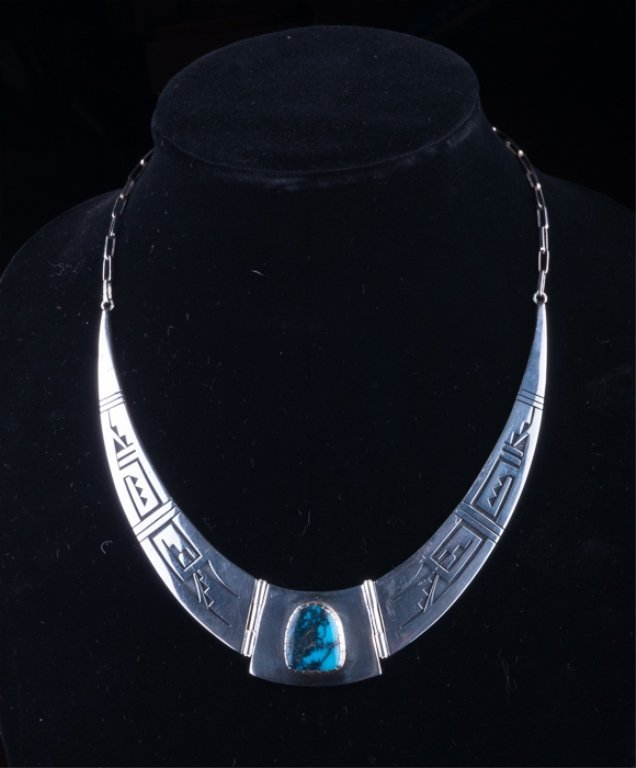 Philbert Poseyesva Sterling & Turquoise Necklace
