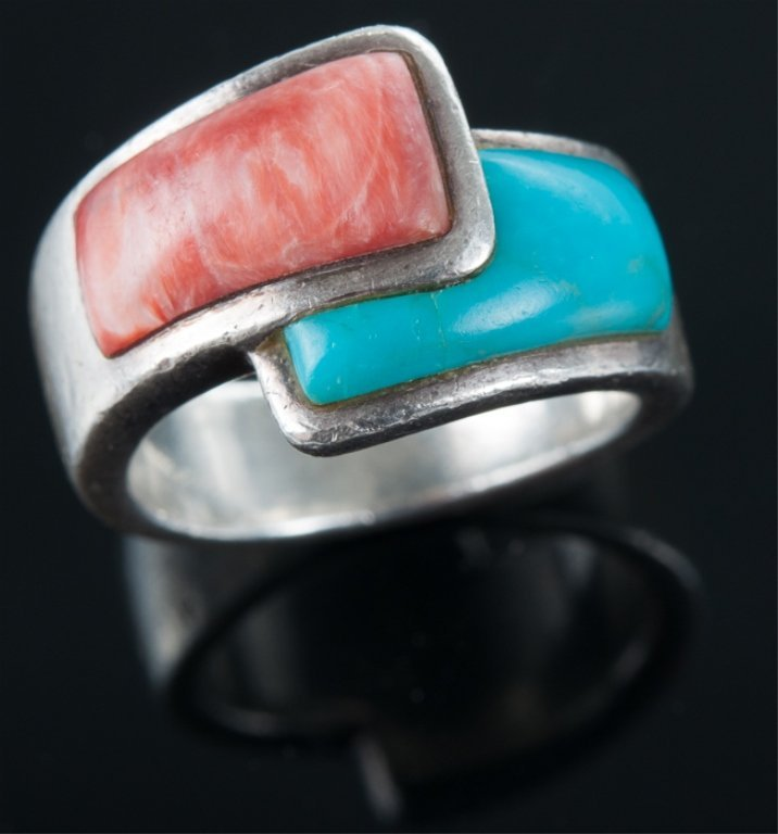 Turquoise & Agate Sterling Bypass Ring