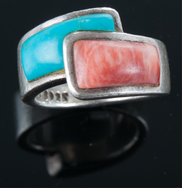 Turquoise & Agate Sterling Bypass Ring - 2