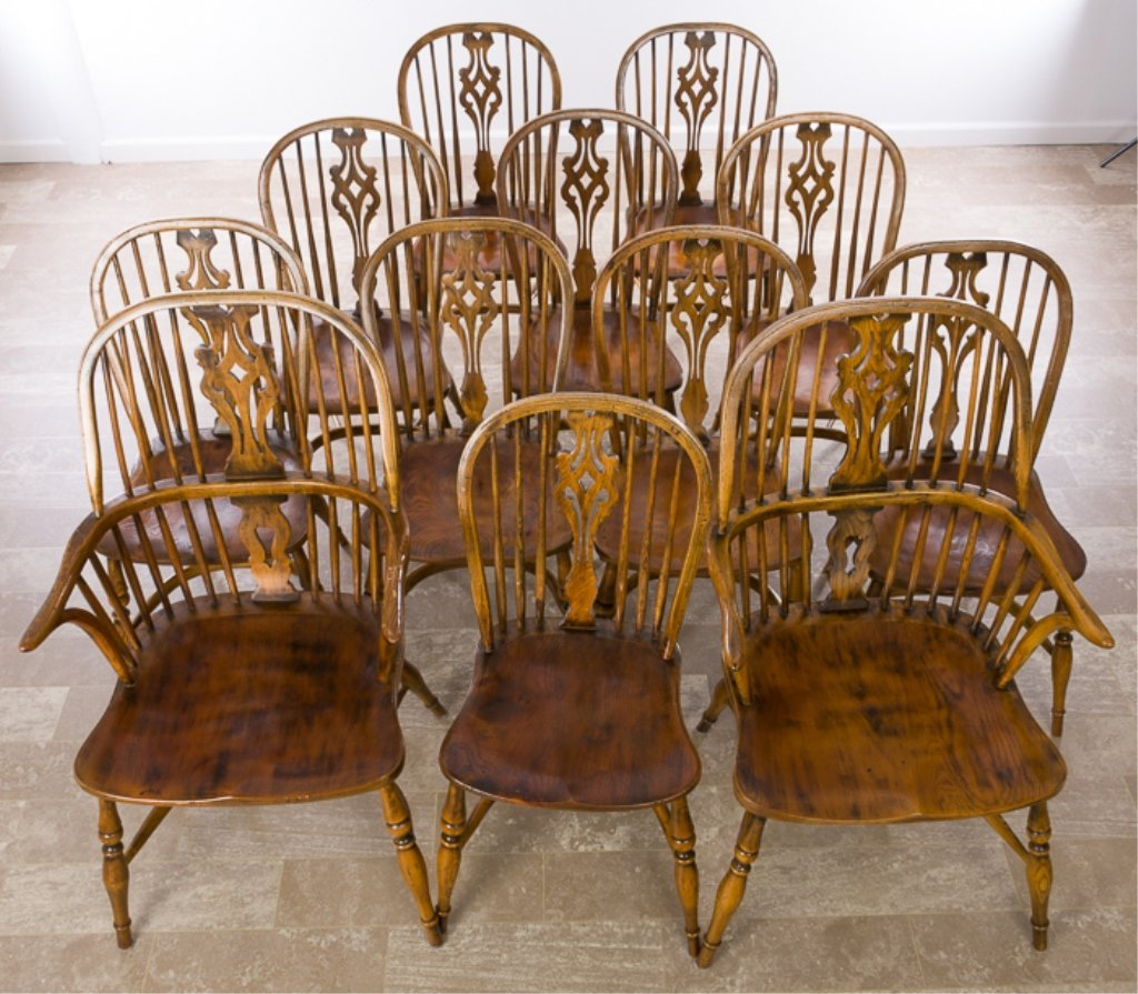 Windsor Chairs Set of Twelve (12), Ash & Elm Wood